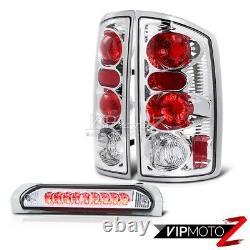 02-05 Dodge Ram 1500 Crystal Clear Tail Light+Chrome Led 3rd Brake Lamp Assembly