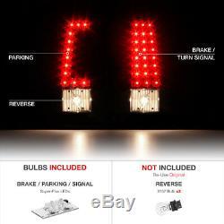 1999-2002 Chevrolet Silverado Black LED Brake Tail Lights Signal Lamps Assembly