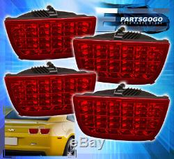 2010-2013 Chevy Camaro Sequential 4Pc Led Red Lens Tail Lights Pair (Left+Right)