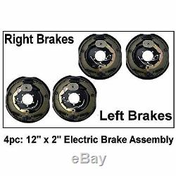 4x 12 x 2 Trailer Brake Assemblies 2pc Right & 2pc Left Side Assembly 12in