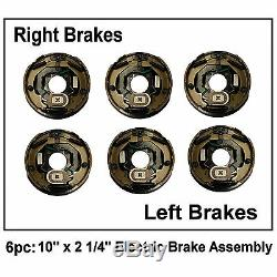 (6) 10 x 2.25 Electric Trailer Brakes Assembly Right Left 4500lb axle 2 1/4