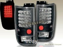 97-02 Ford Expedition LED JDM Black Tail Lights Rear Brake Lamps Assembly LH+RH