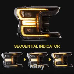BLACK FULL LED Reflector Headlights + SMOKE LED Taillights for 2018-2020 F-150