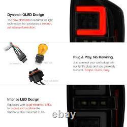 BLACK SMOKE Tron Style Neon LED Tail Lights Brake Lamp For 16-21 Toyota Tacoma