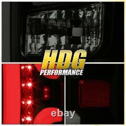 Black Housing Smoke Tube LED Tail Brake Stop Lights Assembly For 14-18 Silverado