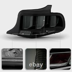 Black Smoke Sequential LED Tube Tail Light Brake Signal For 2010-12 Ford Mustang
