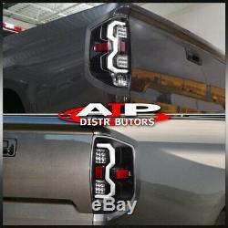 Black White LED Tube Tail Lights Brake Lamps Pair For 2014-2020 Toyota Tundra