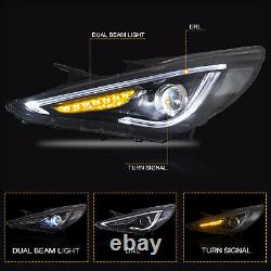 CLEAR Headlights+RED CLEAR Taillights for SONATA 11-14 GLS Limited SE 11-13 GL