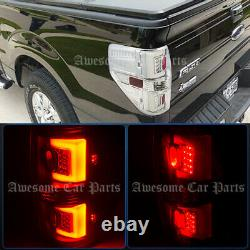 C Tube LED Chrome Clear Lens Tail Lights Lamp For 2009-2014 F150 Pickup Trucks