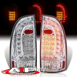 Chrome Clear LED Brake Tail Lights Lamps Left+Right For 2005-2015 Toyota Tacoma