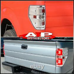 Chrome Housing Clear LED Tail Lights Brake Lamps Pair For 2009-2014 Ford F-150