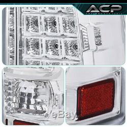 Chrome Housing Clear Lens Led Tail Lights Lamps For 99-06 Silverado Sierra