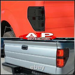 Chrome Housing Smoked LED Tail Lights Brake Lamps Pair For 2009-2014 Ford F-150