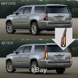 Custom Fiber Optic Escalade Style CLEAR LED Taillights For 15-20 GMC Yukon /XL
