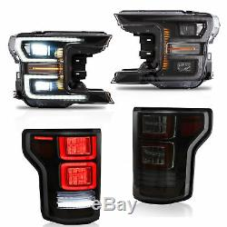 Customized Black FULL LED Headlights + SMOKED LED Taillights for 18-20 F-150