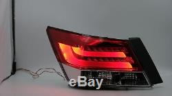 Customized LED Headlights+RED CLEAR Tail Lights for 2008-2012 Honda Accord