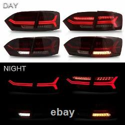 Customized LED Headlights withDUAL BEAM+RED CLEAR Taillights for 11-14 VW JETTA