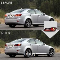 Customized RED CLEAR LED Tail Lights for 06-13 Lexus IS 250/350 Sedan 08-14 IS F