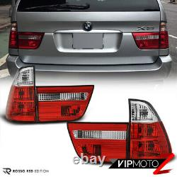 EURO SPEC For BMW E53 X5 00-06 Red Clear 4PC Tail Light Brake Signal Lamp PAIR