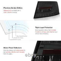 FIBER OPTIC TUBE Smoke Lens LED Brake Lamps Tail Lights For 05-08 Audi C6 A6L S6