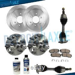 FRONT Brake Rotors + Pads + Wheel Bearings + Axles 1995-1999 Tahoe GMC Yukon