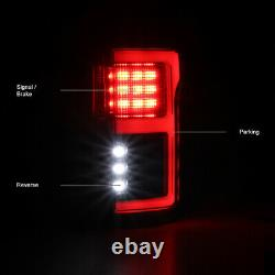 FULL LED Light Tube Black Brake Tail Lamp 15-20 Ford F150 withBlind Spot Sensor