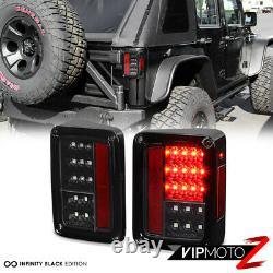 ^FULL LED UPGRADE^ For 07-18 Jeep Wrangler Black Tail Light Brake Reverse Signal