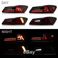Fiber Optic RED CLEAR LED Taillights for 06-13 Lexus IS 250/350 Sedan 08-14 IS F
