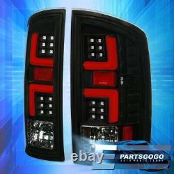 For 02-06 Dodge Ram 1500 2500 3500 Black / Red LED Tube Tail Brake Lights Lamps
