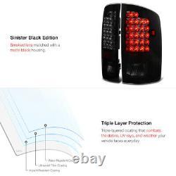 For 02-06 Dodge Ram 1500 2500 3500 SINISTER BLACK SMOKE LED Brake Tail Light