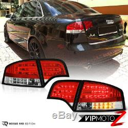 For 05-08 Audi A4 B7 EURO RED 4PC Rear Brake LED SMD Tail Light Lamp Assembly