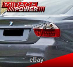 For 06-08 BMW E90 323 325 328 330 4 Door Chrome Red LED Tail Lights 4Piece Set