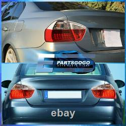 For 06-08 BMW E90 3-Series Sedan Red Clear LED Tail Light Brake Lamps Left+Right