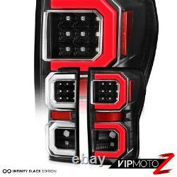 For 07-13 Toyota Tundra BLACK Tail Light Dual Neon U-Bar Tube LED Brake Lamp