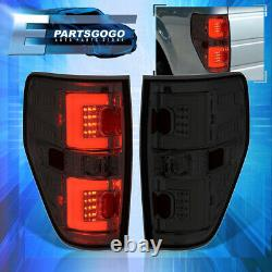 For 09-14 Ford F150 Pickup Tube LED Tail Lights Brake Lamps Left+Right Set Smoke