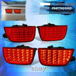 For 10-13 Chevy Camaro Lt Sequential Red Lens LED Brake Tail Lights Lamps Pair