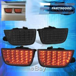 For 10-13 Chevy Camaro Lt Sequential Smoked Lens LED Brake Tail Lights Lamps Set