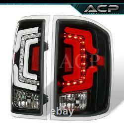 For 14 15 16 17 18 Silverado Black Housing LED Neon White Tube Tail Lights Lamps