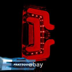 For 14-18 Chevy Silverado LED Tail Lights Brake Lamps Chrome Housing Red Smoked
