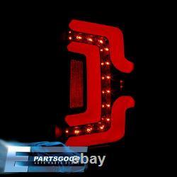 For 14-18 Chevy Silverado Red Tube LED Tail Lights Brake Lamps Set Black Housing