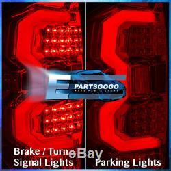 For 14-20 Toyota Tundra Chrome Housing Red Lens Tail Lights Tube Led Replacement