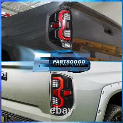 For 14-20 Tundra Red Tube LED Brake Tail Lights Lamps Left+Right Black Clear