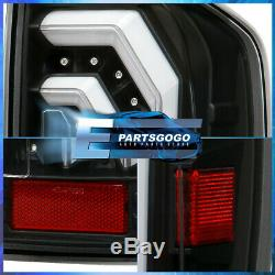 For 16-20 Toyota Tacoma Black Clear Lens LED Tube Style Brake Tail Lights Lamps