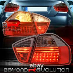 For 2006-2008 BMW E90 325i 328i 4DR Replacement LED Tail Lights Lamps Smoked Red