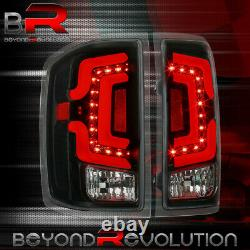 For 2014-2018 Chevy Silverado Clear Lens Red LED Tube Tail Lights Black Housing