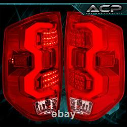 For 2014-2020 Tundra Bar Tube LED Brake Lights Tail Lamps Chrome Red Upgrade