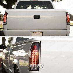 For 88-98 Chevy GMC Silverado Sierra Suburban Tahoe LED Black Tail Light Lamp
