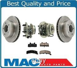 For 95-02 4x4 AWD Astro Van Front Hub & Bearings Disc Brake Rotors Pads 5Pc Kit