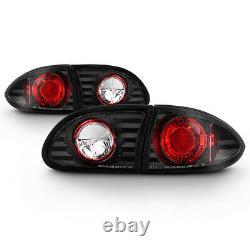 For 95-02 Chevy Cavalier Sport Coupe Sedan Black Tail Light Lamp Pair Left+Right