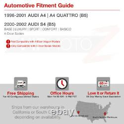 For 96-01 Audi A4 B5 00-02 S4 Euro Black Clear Rear Brake Lamp Tail Light Pair